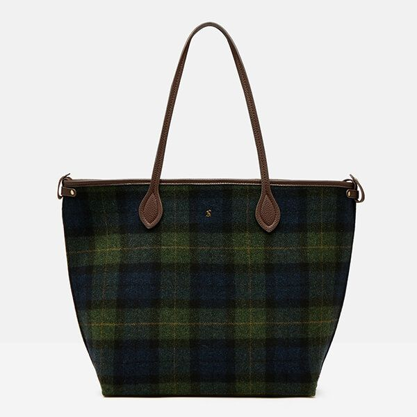 Joules Navy Green Check Tweed Fulbrook Tote Bag