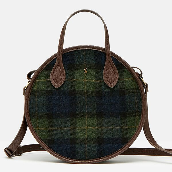 Joules Navy Green Check Tweed Fulbrook Round Mini Bag