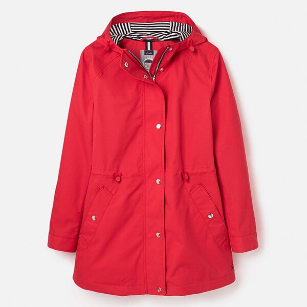 Joules Red Shoreside Waterproof Coat With Stripe Jersey Lining
