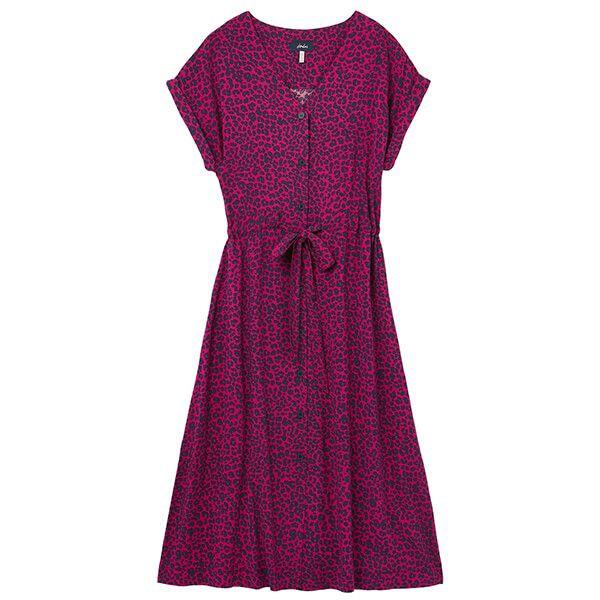 Joules Pink Leopard Yasmine Button Through V Neck Dress