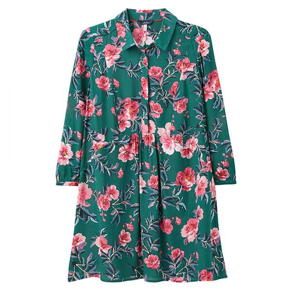 Joules Green Floral Athena Pop Over Seamed Longline Top