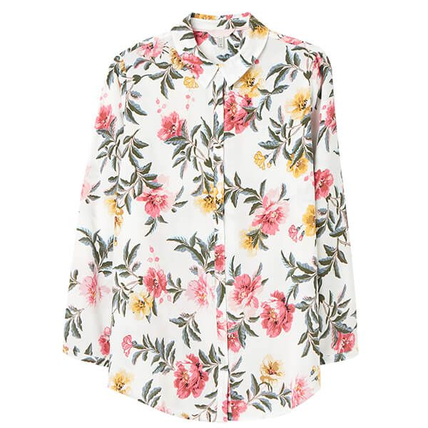 Joules Cream Floral Elvina Button Front Woven Shirt