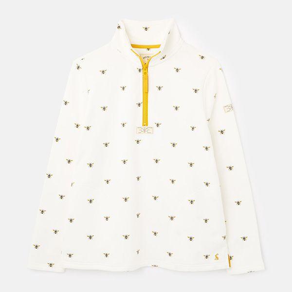 Joules Cream Bees Pip Print Casual Half Zip Sweatshirt