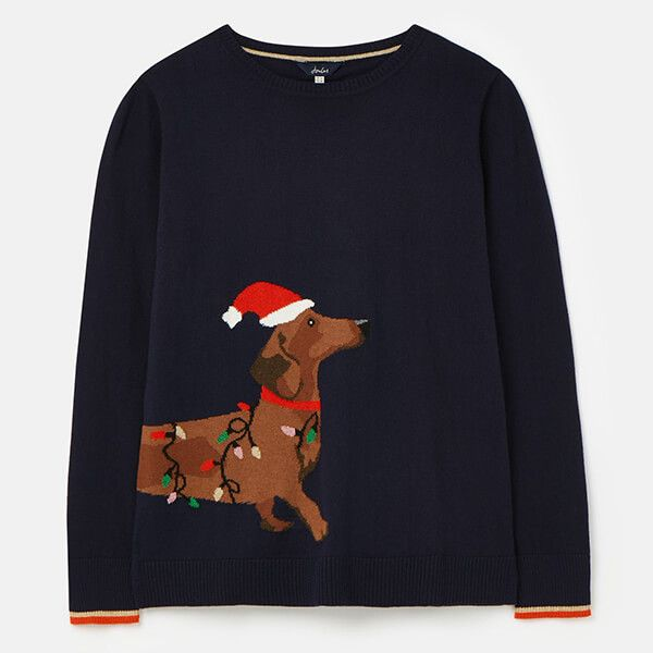 Joules Navy Dog Festive Crew Neck Intarsia Block Jumper