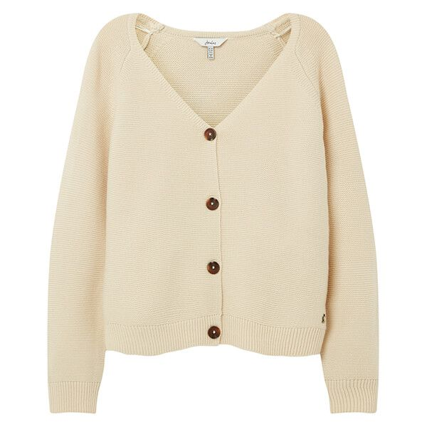 Joules Cream Jane Knitted Garter Stitch Cardigan