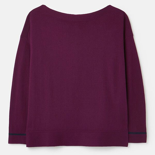 Joules Purple Vivianna Slash Neck Intarsia Block