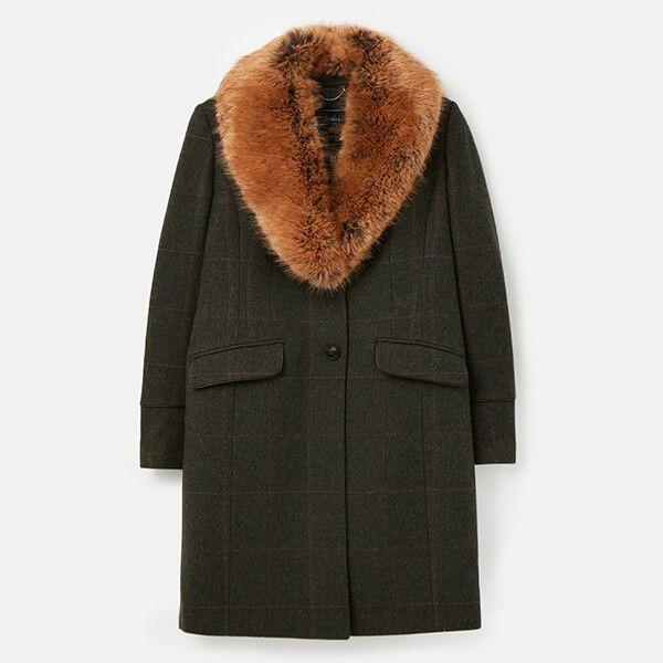 Joules Dark Green Tweed Langley Longline Coat with Fur Trim