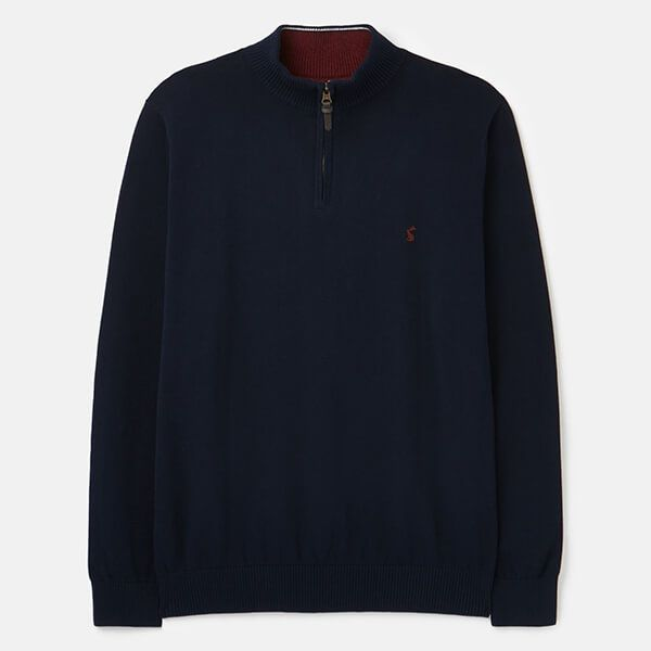 Joules Navy Marl Hillside 1/4 Zip Funnel Neck Jumper