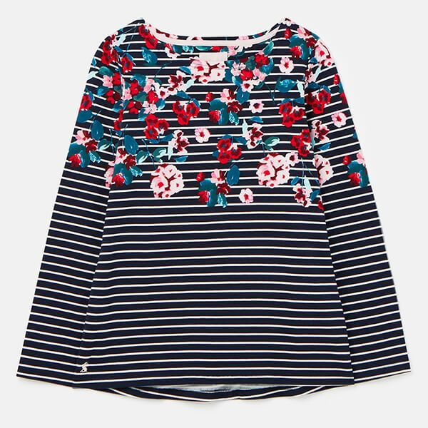 Joules Navy Floral Stripe Harbour Print Long Sleeve Jersey Top