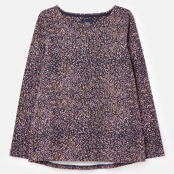 Joules Navy Speckle Harbour Print Long Sleeve Jersey Top