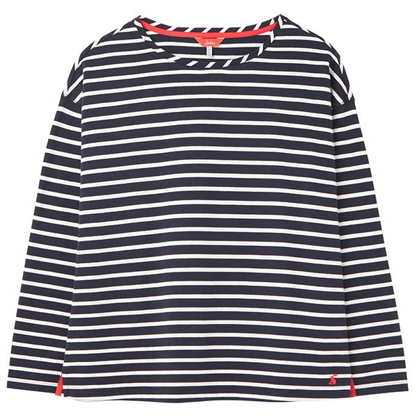Joules Navy Cream Stripe Marina Dropped Shoulder Jersey Top