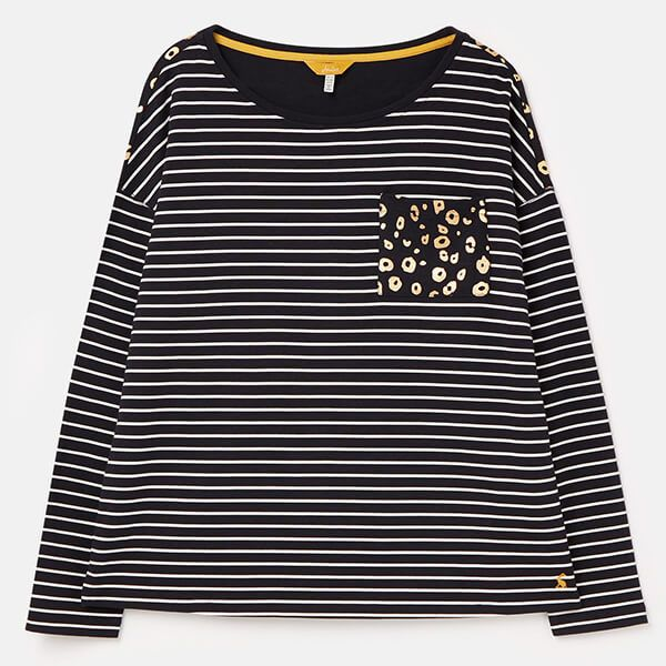 Joules Navy Cream Stripe Marina Print Dropped Shoulder Jersey Top