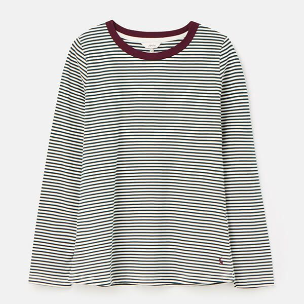 Joules Cream Green Stripe Selma Long Sleeve Jersey Top