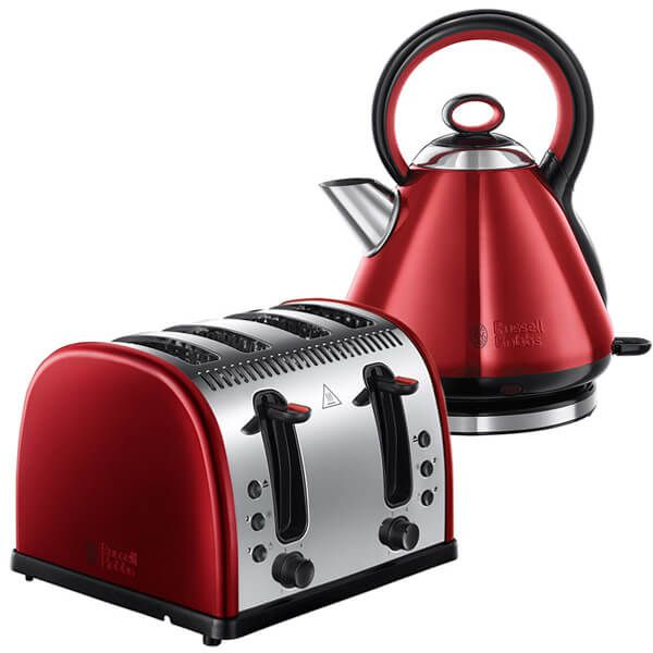 Russell Hobbs Legacy Kettle & Toaster Set Red