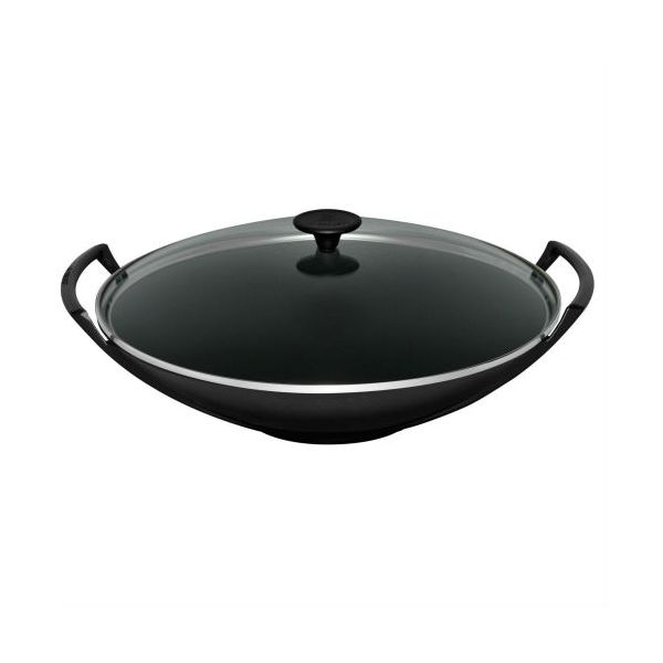 Le Creuset Satin Black Cast Iron 32cm Wok and Glass Lid