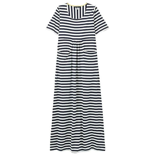 Joules Navy Cream Stripe Trudy Jersey Maxi Dress