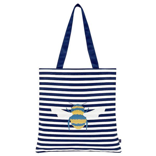 Joules Cream Bee Stripe Lulu Canvas Tote Bag