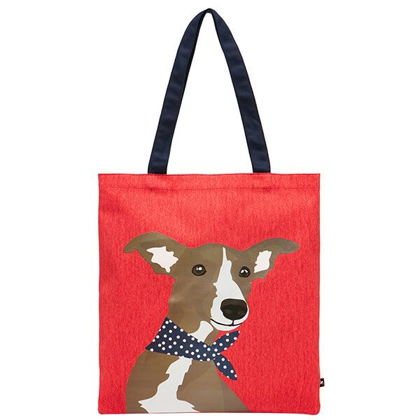 Joules Red Whippet Dog Lulu Canvas Tote Bag