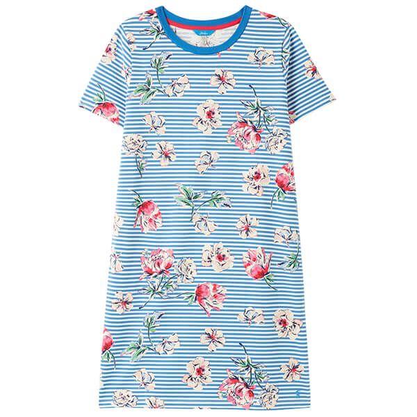Joules Blue Floral Stripe Liberty Print A Line Dress