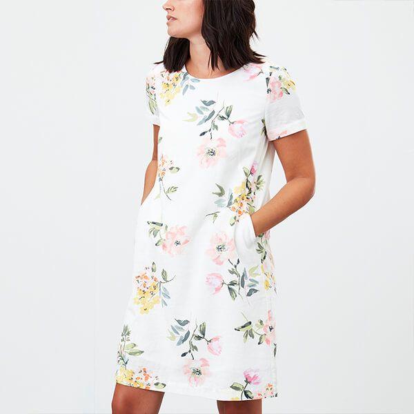 Joules Cream Floral Rosetta Print Button Shoulder Shift Dress