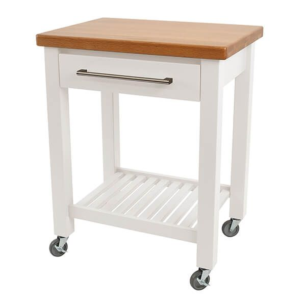 T & G Studio White Hevea With Oak Top Kitchen Trolley Fully Assembled