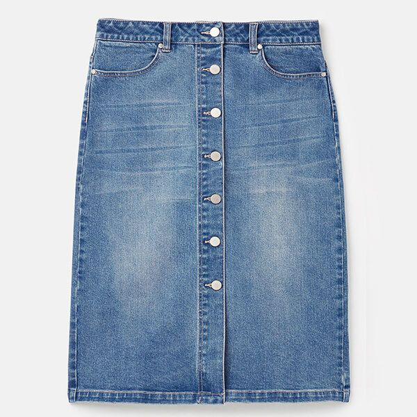 Joules Light Denim Francesca Denim Mid Length Skirt