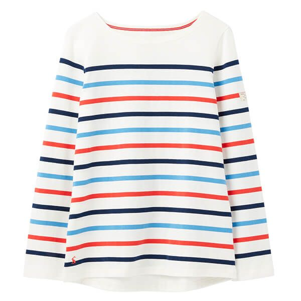Joules Cream Navy Red Blue Stripe Harbour Long Sleeve Jersey Top