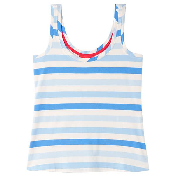 Joules Cream Blue Stripe Annika Stripe Scoop Neck Jersey Vest