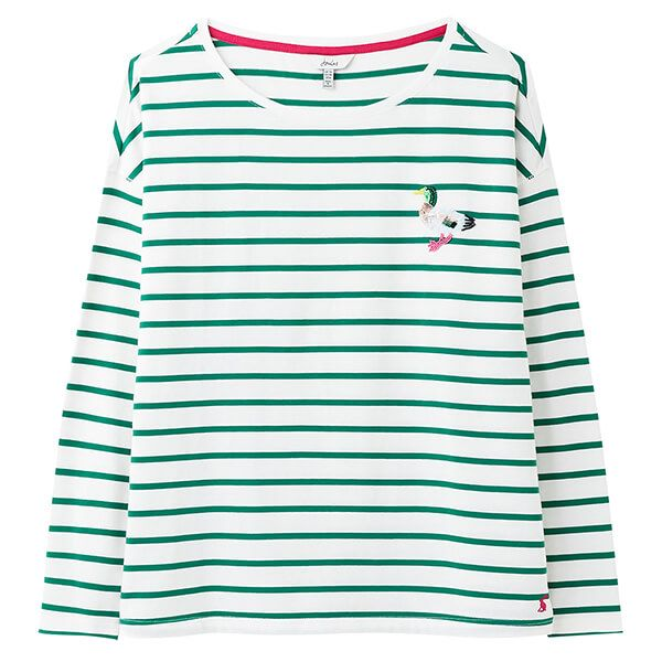 Joules Cream Green Stripe Duck Marina Print Dropped Shoulder Jersey Top