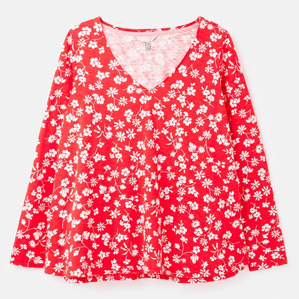 Joules Red Floral Harbour Lightweight V Neck Jersey Top