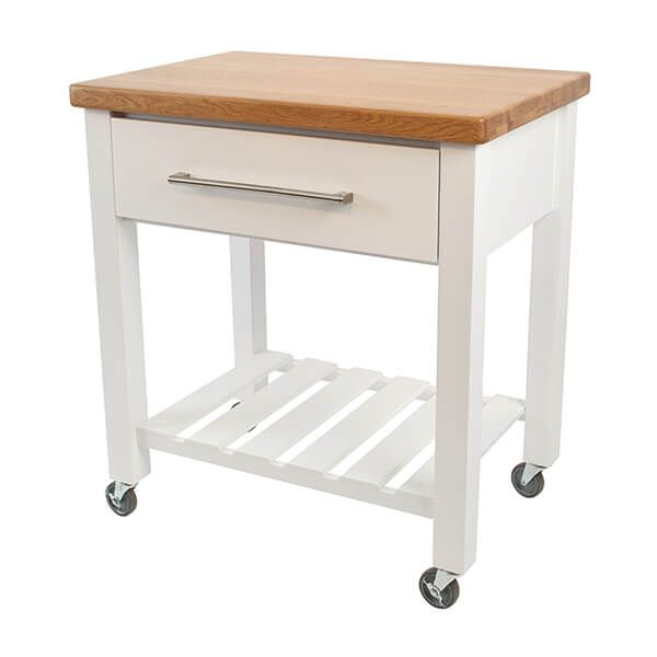 T & G Loft White Hevea With Oak Top Kitchen Trolley Fully Assembled