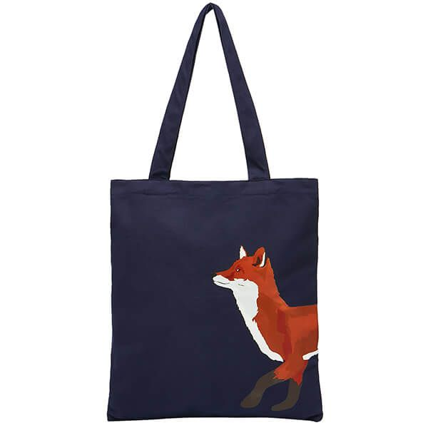 Joules Navy Fox Lulu Novelty Canvas Tote Bag