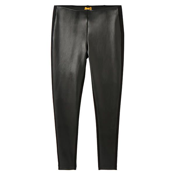 Joules Black Harriet Pleather Jersey Mix Trousers