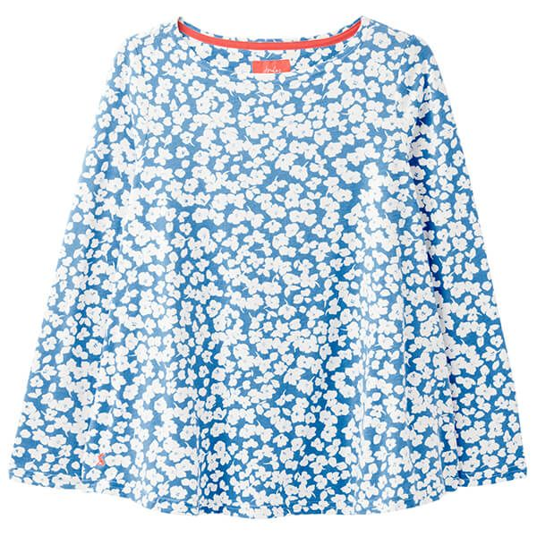 Joules Blue Floral Harbour Light Long Sleeve Jersey Top