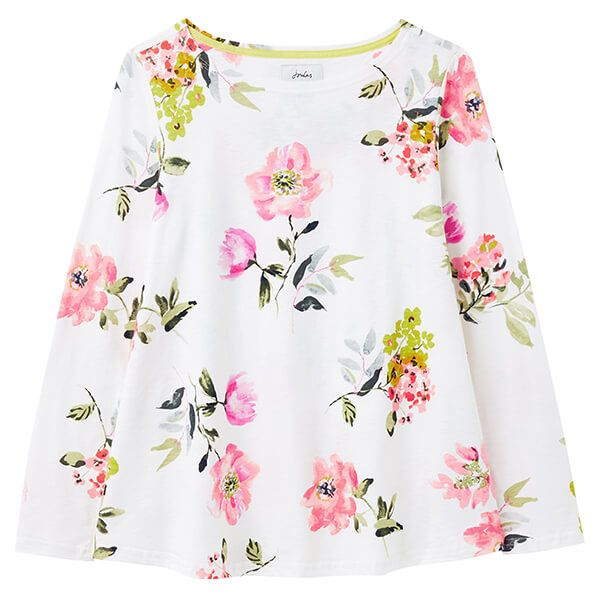 Joules Cream Floral Harbour Light Swing Long Sleeve Jersey Top