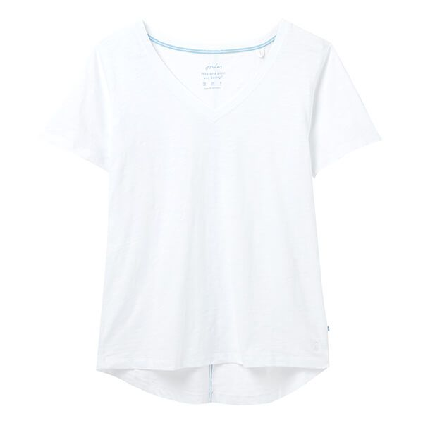 Joules Bright White Celina V Neck T-Shirt