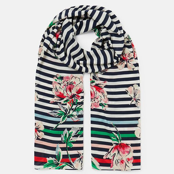 Joules Blue Stripe Floral Conway Printed Scarf