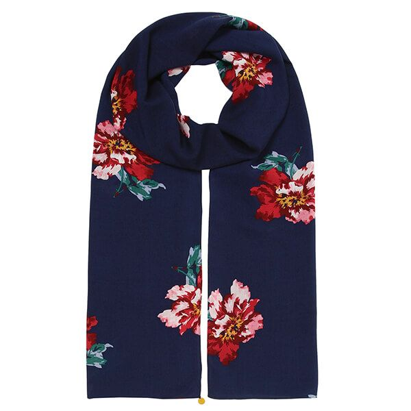 Joules Navy Peony Conway Scarf
