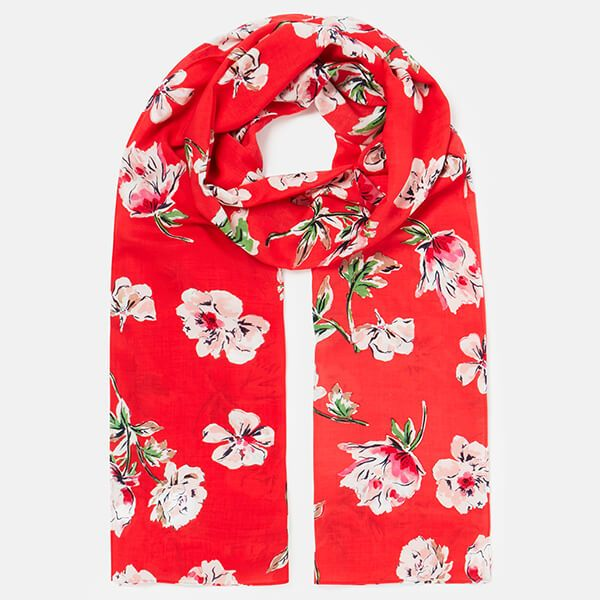 Joules Red Floral Conway Printed Scarf