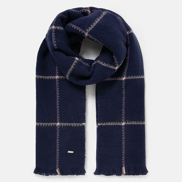 Joules Navy Check Stamford Checked Scarf