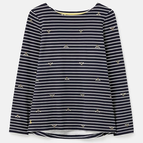 Joules Bee Stripe Harbour Print Long Sleeve Jersey Top