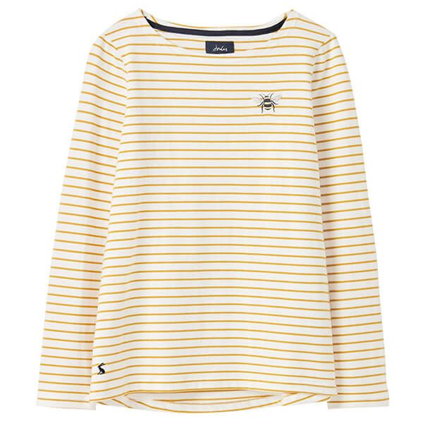Joules Cream Gold Stripe Harbour Long Sleeve Jersey Top