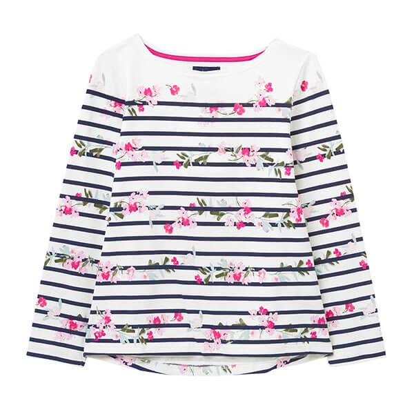 Joules Cream Floral Stripe Harbour Print Long Sleeve Jersey Top