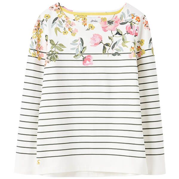 Joules Cream Green Stripe Floral Harbour Long Sleeve Jersey Top