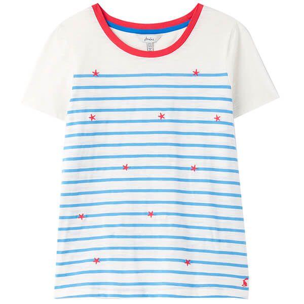 Joules Starfish Cream Blue Stripe Carley Print Classic Crew T-Shirt