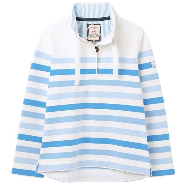 Joules Cream Stripe Santon Funnel Neck Sweatshirt
