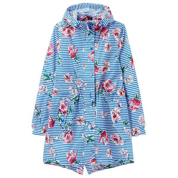 Joules Blue Stripe Floral Printed Waterproof Packaway Jacket
