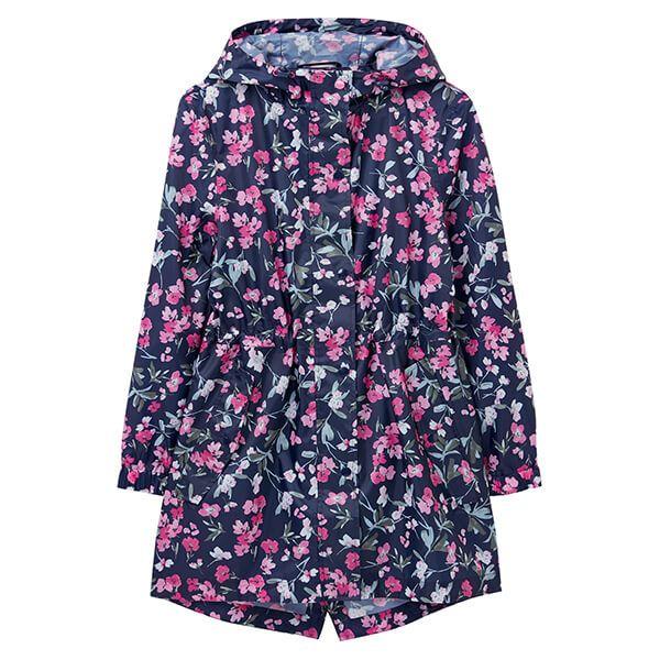 Joules Navy Floral Golightly Printed Waterproof Packaway Jacket