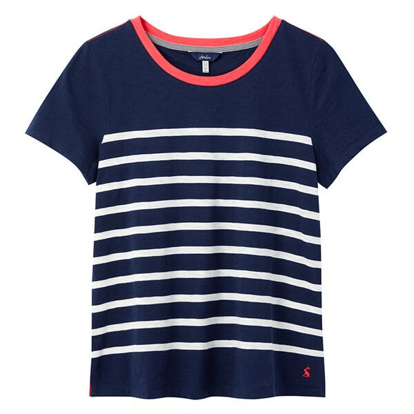 Joules French Navy Cream Stripe Carley Classic Crew T-shirt