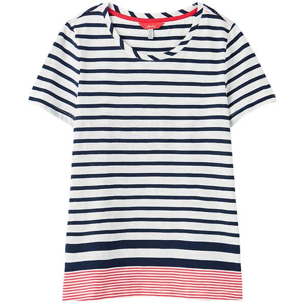 Joules Navy Cream Red Stripe Carley Classic Crew T-Shirt
